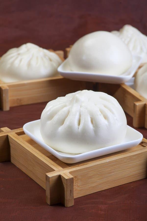 中国食物,蒸的小圆面包 库存照片