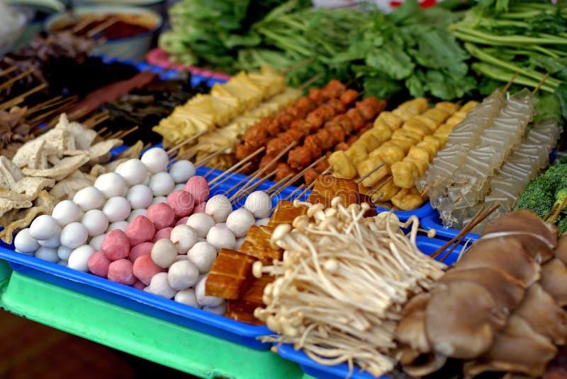 中国食物kebabs市场 免版税库存图片