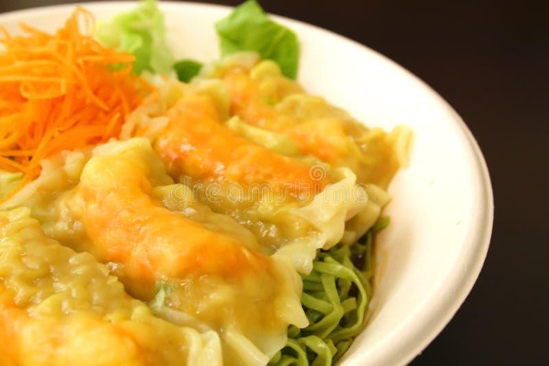 中国饺子绿色面条茶 库存照片
