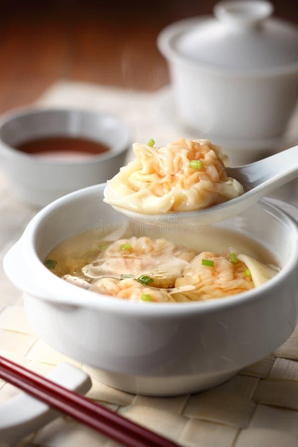 中国饺子虾一口 库存照片