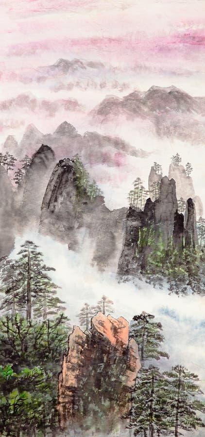 中国高山绘画 库存照片