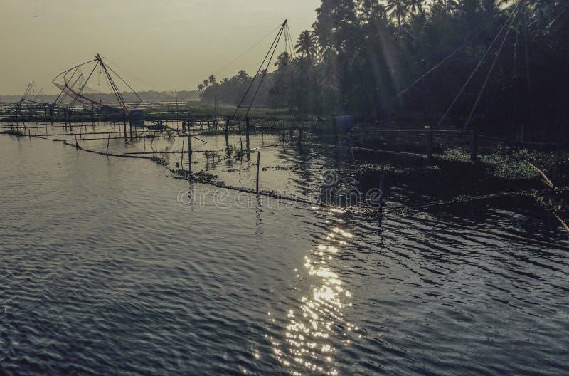 中国鱼网Kerela死水 免版税库存图片