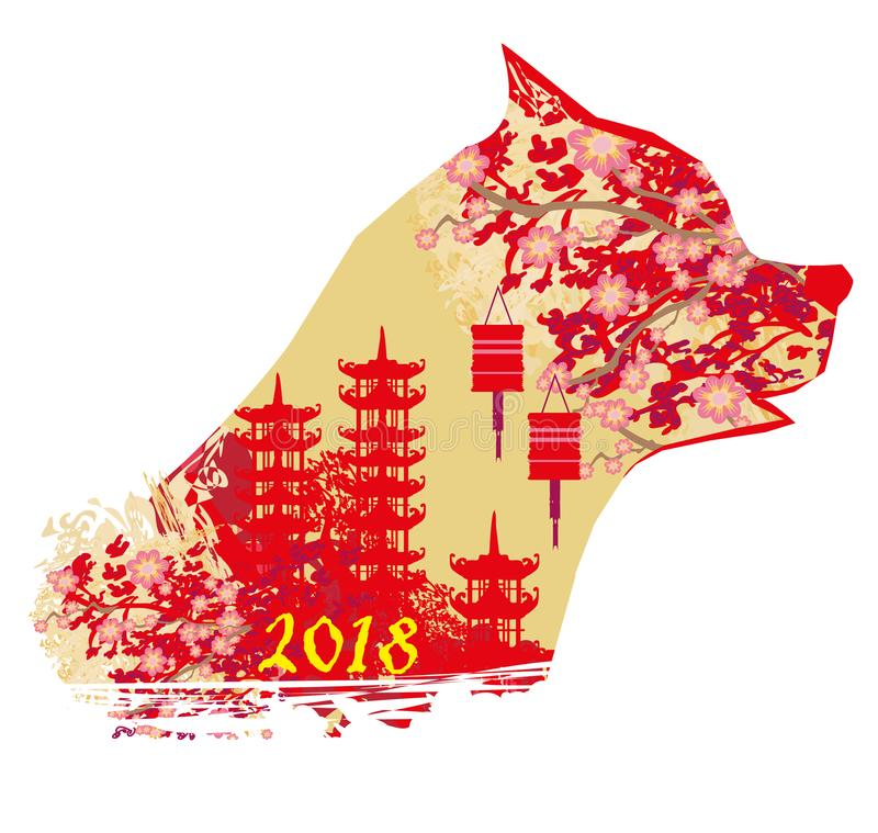 中国黄道带年狗 向量例证