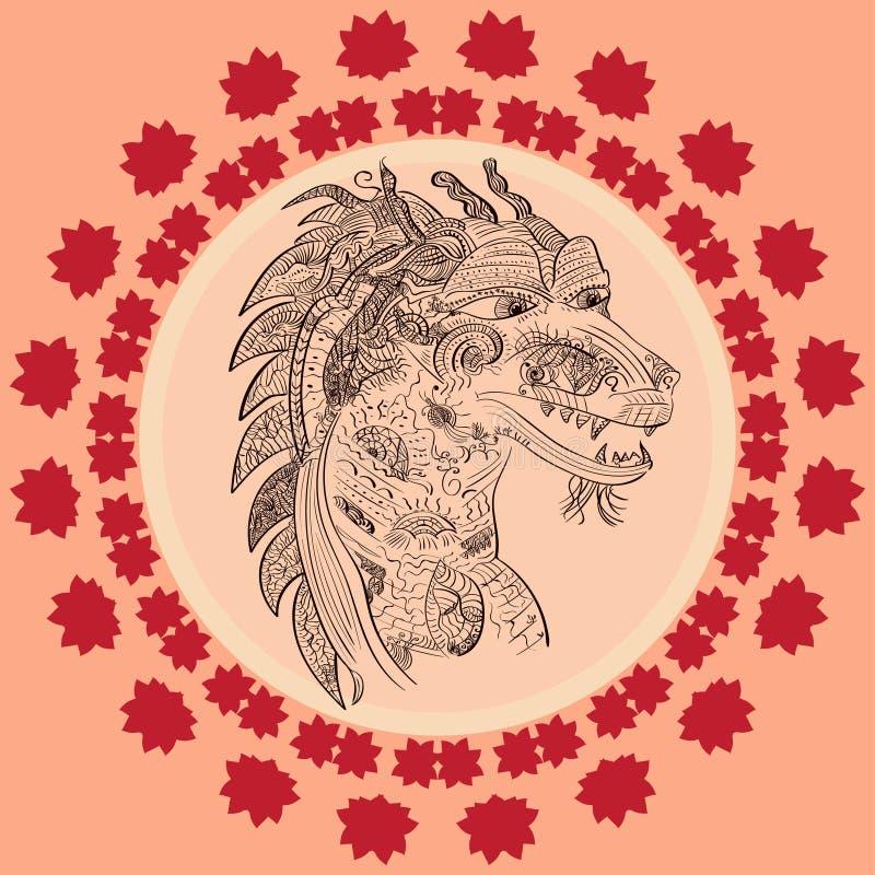 中国龙乱画的传染媒介例证 向量例证