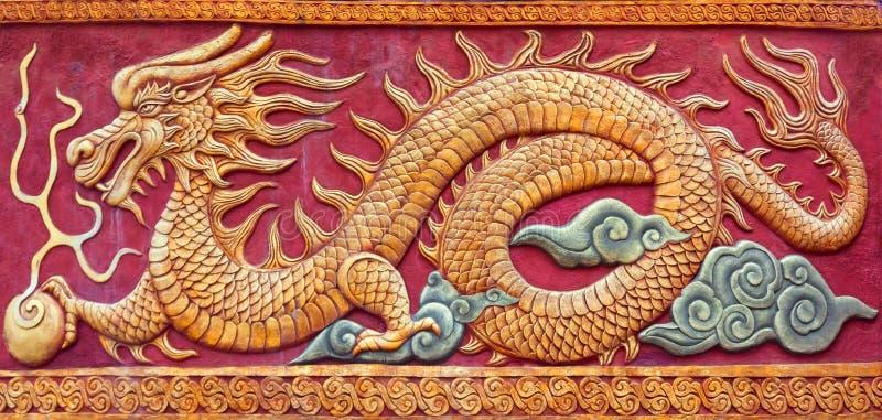 中国龙壁画 免版税库存照片