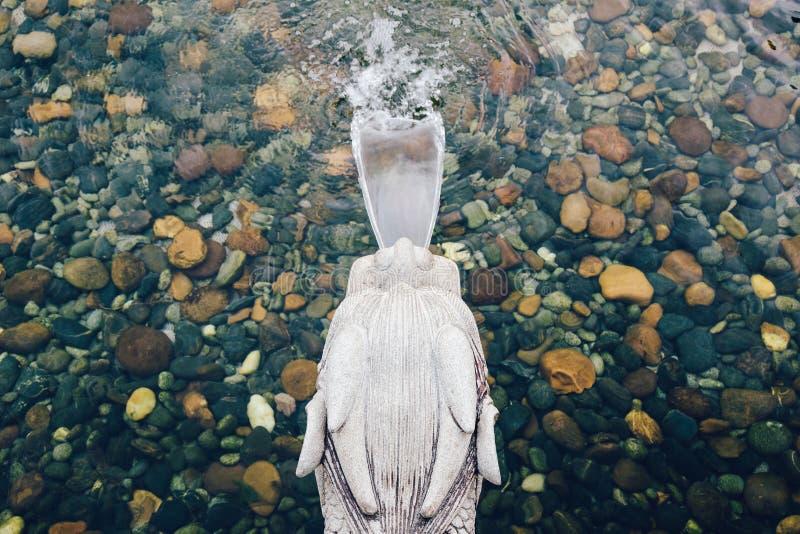 中国龙头喷泉在南连家庭院,香港里 库存图片