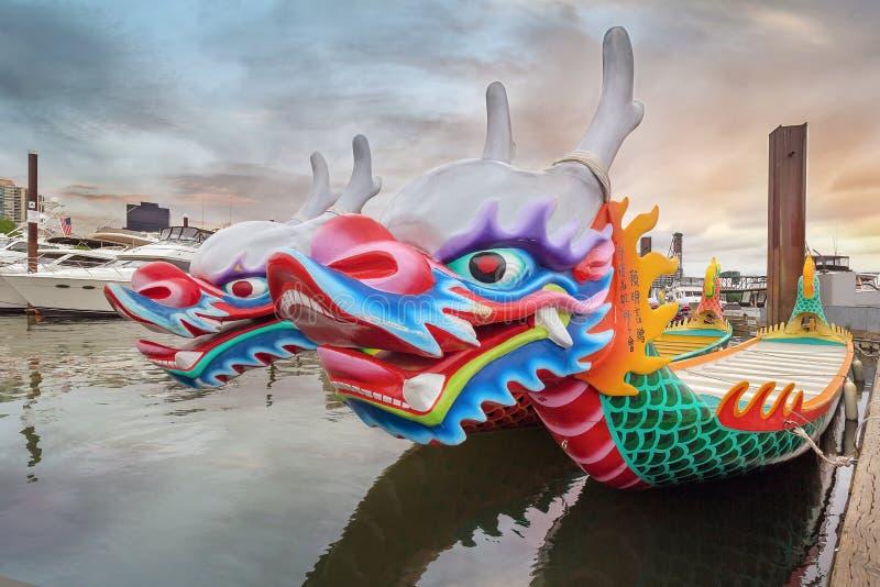 中国龙小船特写镜头 库存照片