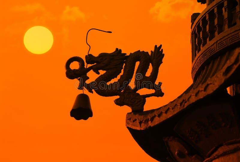 中国龙屋顶 库存图片