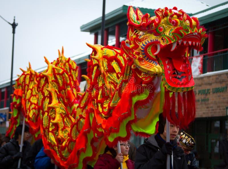 中国龙新的游行年 免版税库存照片