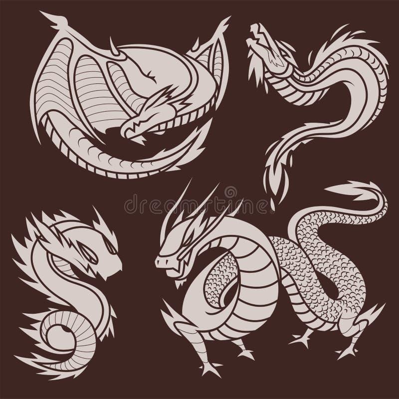 中国龙现出轮廓纹身花刺神话尾巴妖怪不可思议的象亚洲动物艺术传染媒介例证 皇族释放例证