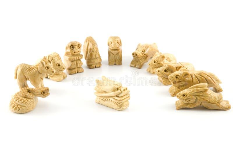 中国龙符号木雕 库存图片