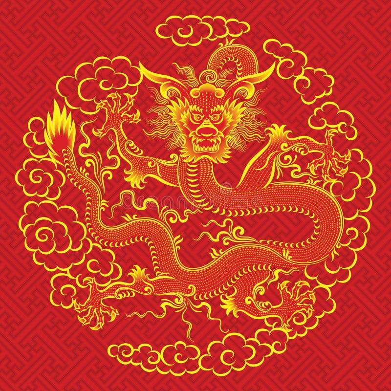中国龙红色 向量例证