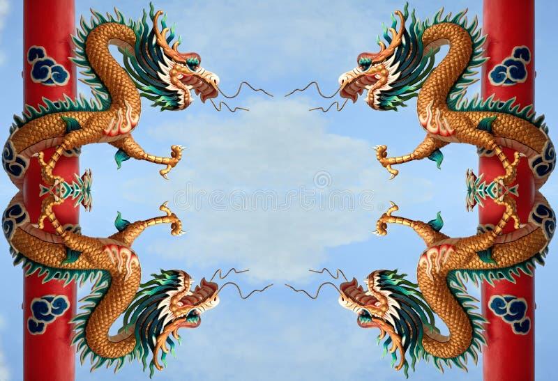 中国龙金黄孪生 库存图片