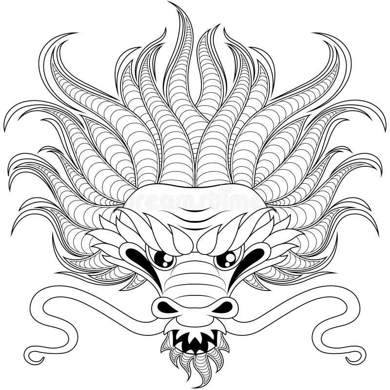 中国龙头在zentangle样式的tatoo的 成人antistress着色页 colorin的黑白手拉的乱画 向量例证