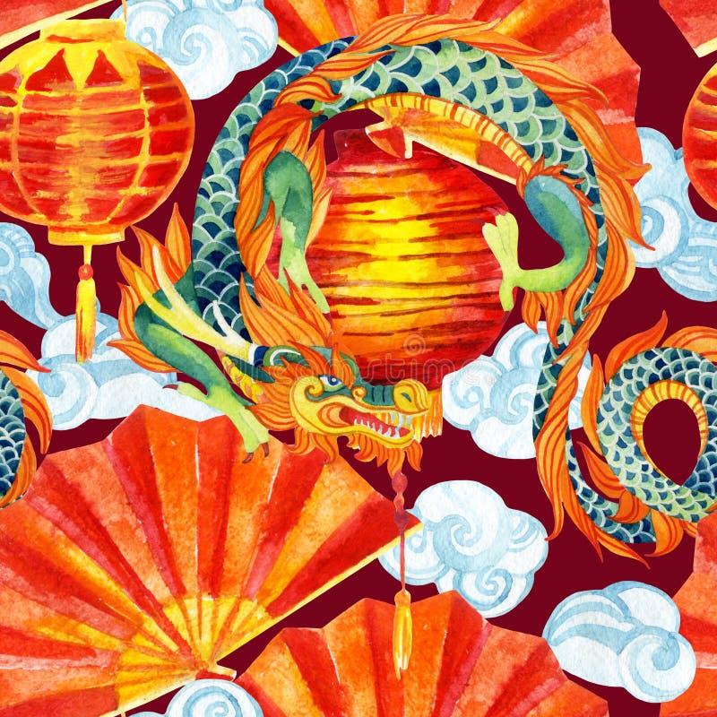 中国龙水彩无缝的样式 向量例证