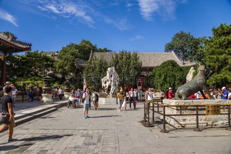 中国,北京 在宫殿仁爱和长寿Renshoudian -霍尔前面的区域  免版税库存图片