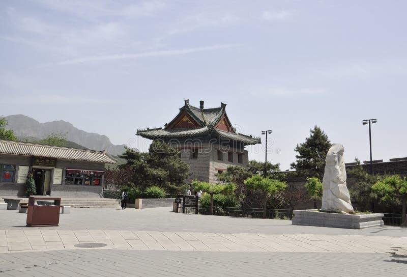 中国,第6可以:居庸关有汉语的长城站点庭院 免版税库存图片