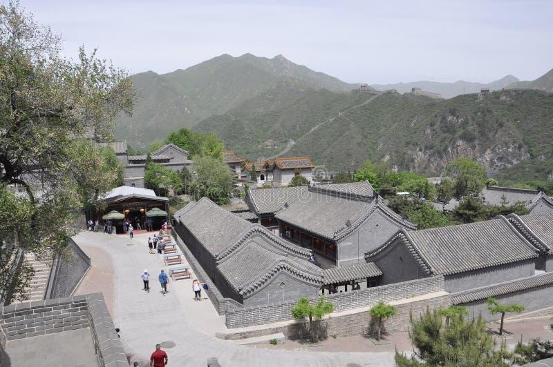 中国,第6可以:居庸关的鸟瞰图有汉语的长城 库存照片