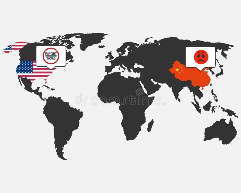 中国,美国 关税造成的冲突 中国没有满意对关税 皇族释放例证