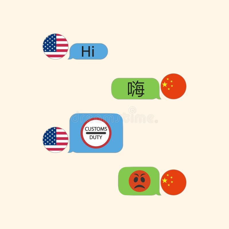 中国,美国 关税造成的冲突 中国没有满意对关税 库存例证
