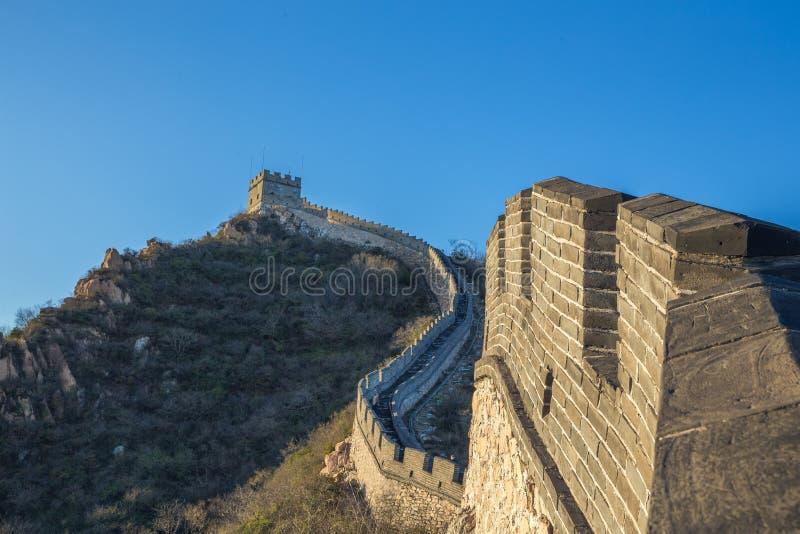 中国, Pekin,中国墙壁,日落,历史 2016年 免版税图库摄影