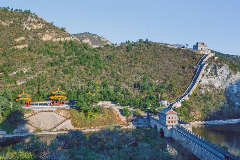 中国, Pekin,中国墙壁,日落,历史 2016年 库存照片