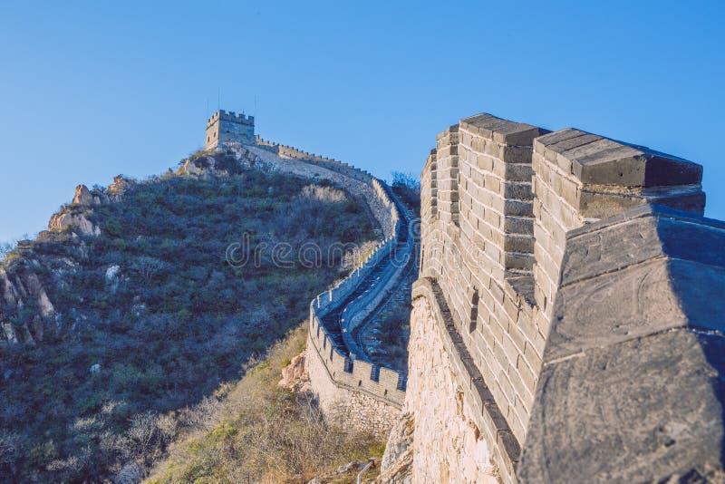 中国, Pekin,中国墙壁,日落,历史 2016年 图库摄影