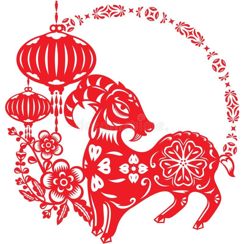 中国年幸运的绵羊羊羔 向量例证