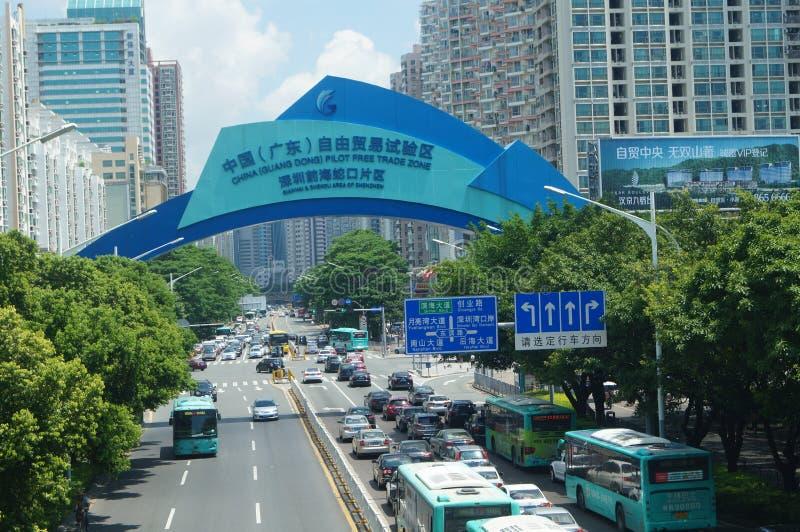 中国(广东)自由贸易实验区域,深圳Qianhai蛇口地区 免版税库存照片