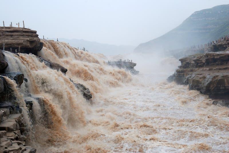 中国黄河的湖口瀑布 库存照片