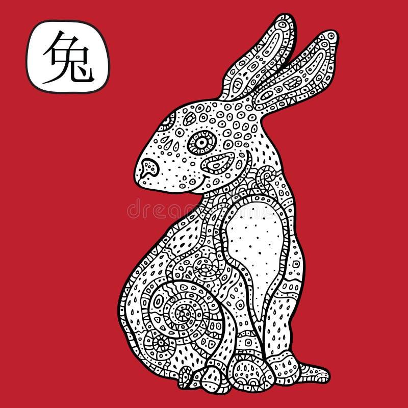中国黄道带。动物占星术标志。兔子。 库存例证
