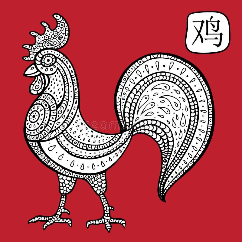 中国黄道带。动物占星术标志。公鸡。 向量例证