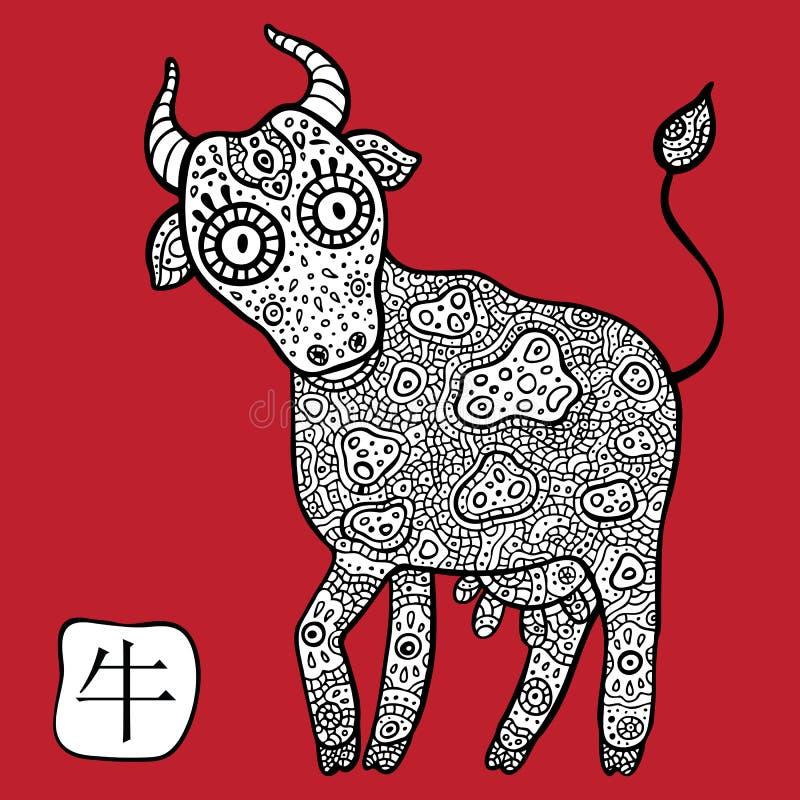中国黄道带。动物占星术标志。母牛。 向量例证