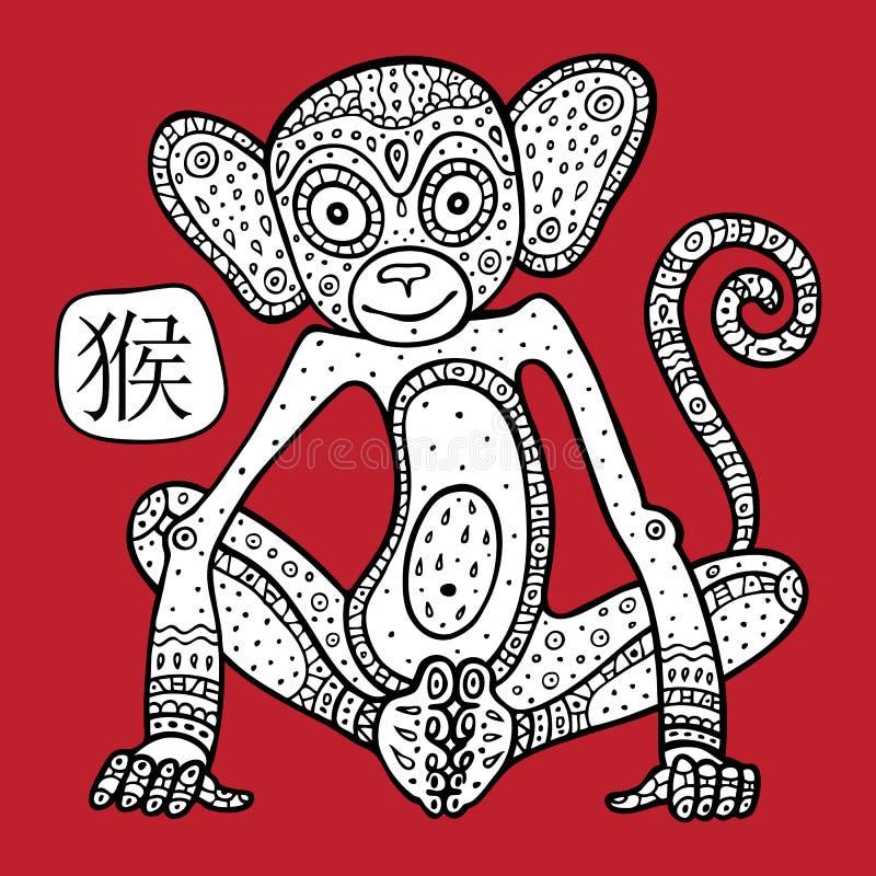 中国黄道带。动物占星术标志。猴子。 向量例证