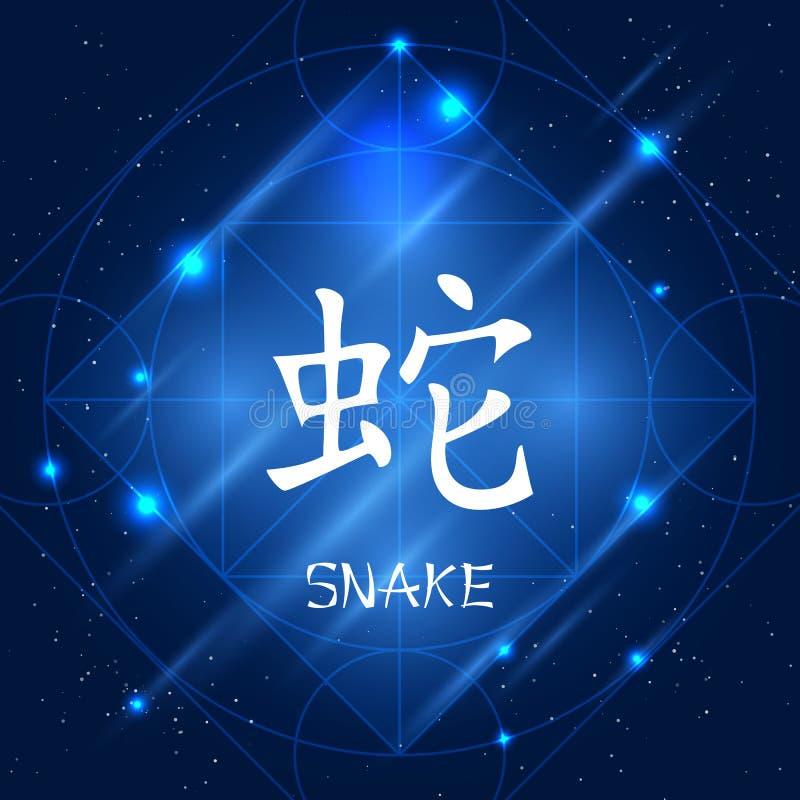 中国黄道带标志蛇 库存例证