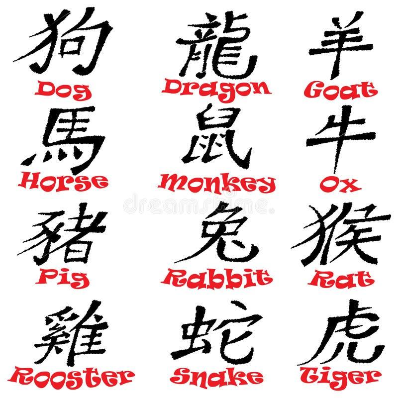 中国黄道带标志设计 皇族释放例证