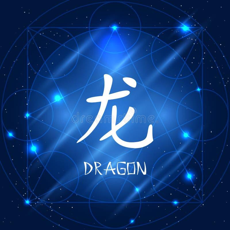 中国黄道带标志龙 库存例证