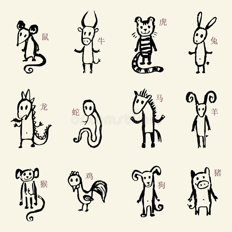 中国黄道带 12动物占星术标志 向量例证