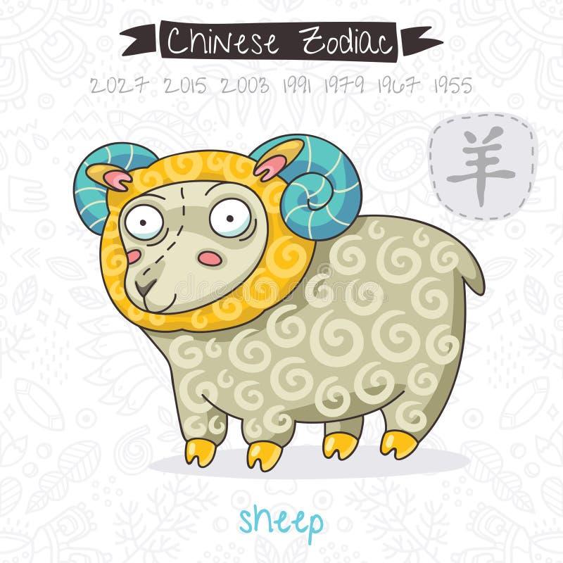 中国黄道带 标志绵羊 也corel凹道例证向量 库存例证