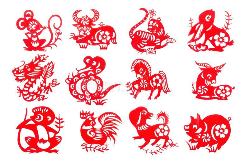 中国黄道带12集合红色纸裁减 库存图片