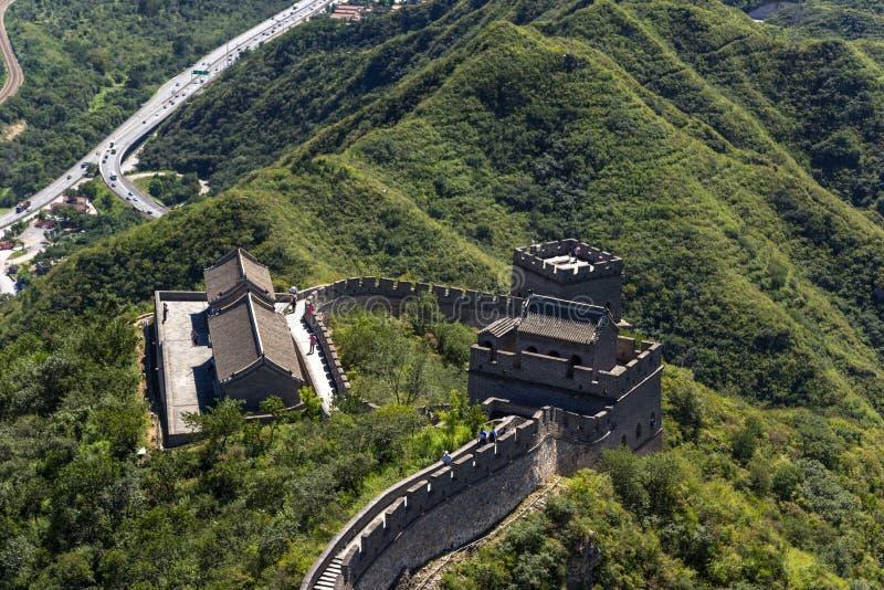 中国 长城的片段的顶视图 库存照片
