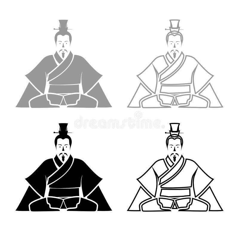 中国iconset灰色黑彩色插图的皇帝 库存例证
