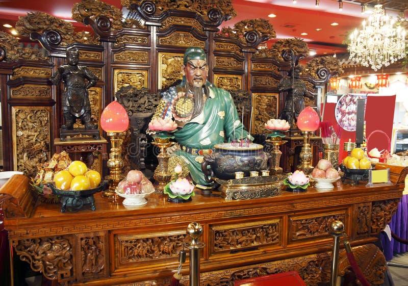 中国kuan kung餐馆 库存照片