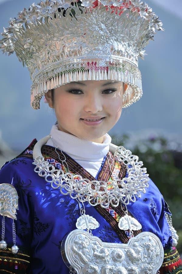 中国Miao国籍女孩 免版税库存图片