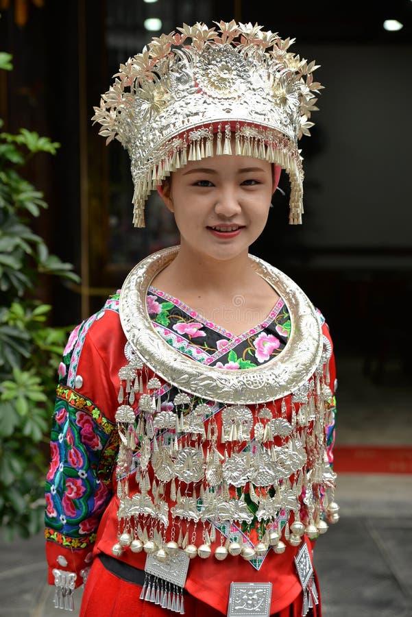 中国miao国籍妇女 项链,脖子 免版税库存图片