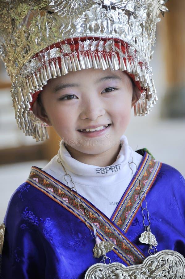 中国Miao国籍小女孩 免版税库存图片