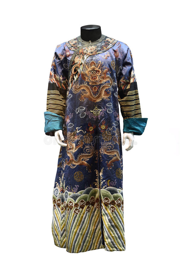 中国qing的朝代皇家长袍 免版税库存照片