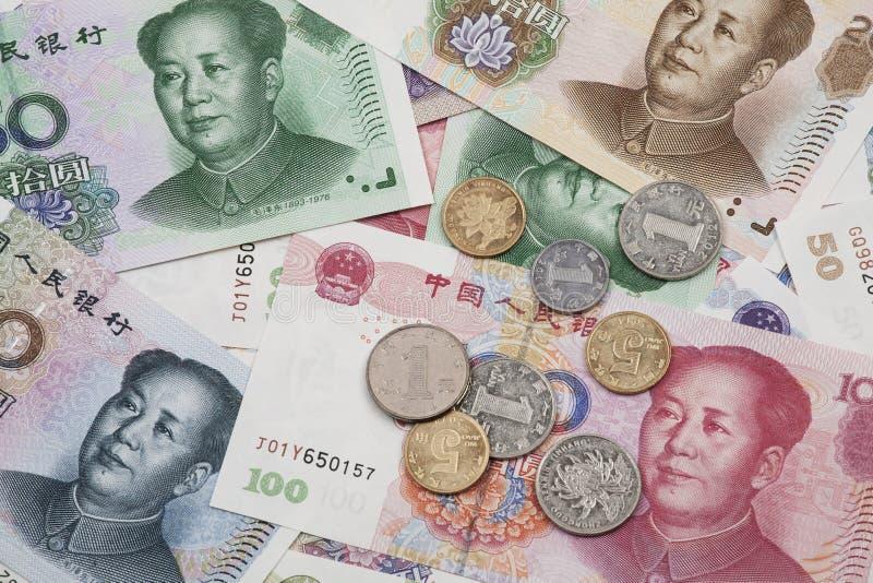中国RMB钞票和硬币colage  免版税库存照片