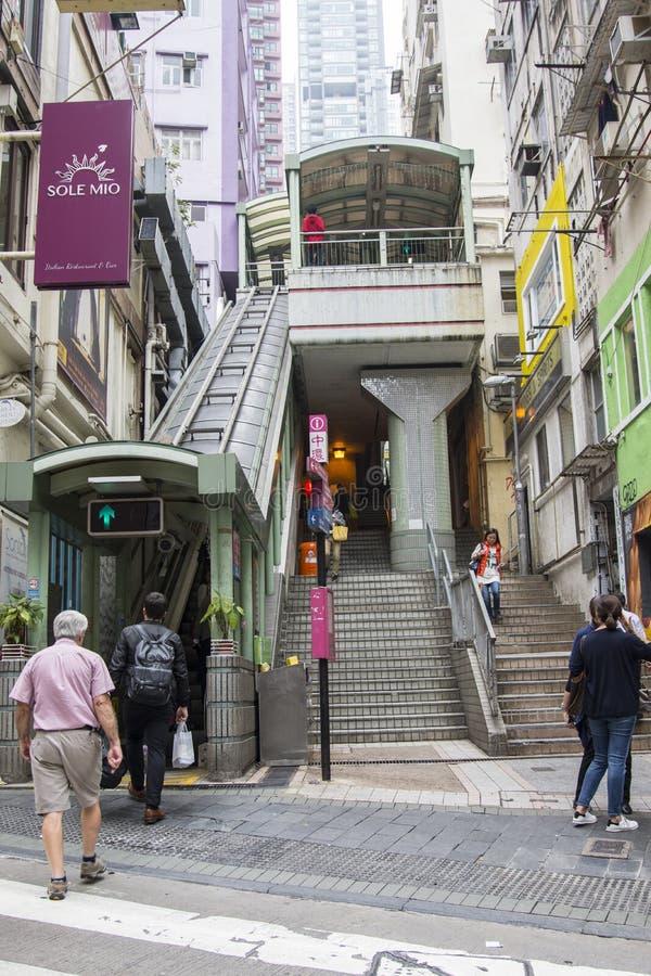 中央中级自动扶梯在香港 免版税图库摄影
