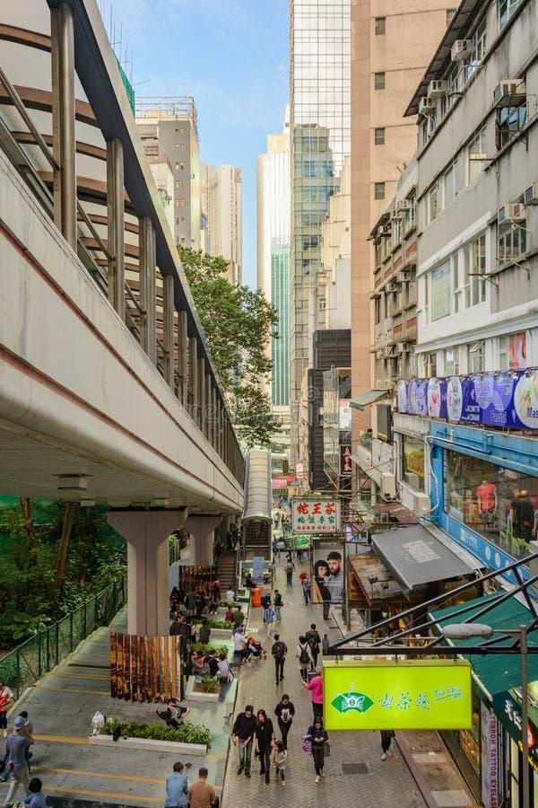 中央中间级自动扶梯在香港-最长的街道自动扶梯在世界上 库存照片